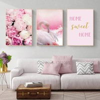 Nordic Poster Pink Flamingo Rose Wall Art Canvas Painting Cuadros Decoracion Picture Wall Pictures For Living Room Unframed