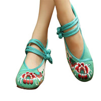 Vintage Chinese Embroidered Flat Ballet Ballerina Cotton Velvet Mary Jane Shoes for Women in Green Floral Design