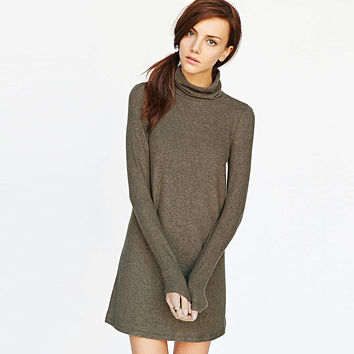 Solid High Collar Long Sleeve Knitted Mini Dress