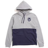 Shield Knit Pullover Hoody Navy / Heather Grey