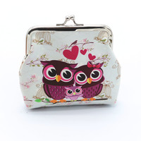 Lovely Women Lady Retro Vintage Owl Print Small Wallet Hasp Purse Clutch Bag Hasp Coin Purses Small CF