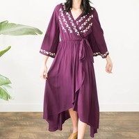 Solly Embroidered Maxi Dress - Purple