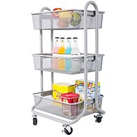DESIGNA 3-Tier Metal Mesh Rolling Storage Cart with Utility Handle, Ideal for Bedroom Kitchen Bathroom Garage Office Arts and Crafts or Nursery, Grey
