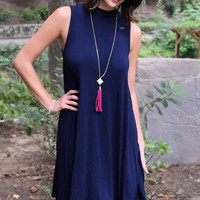 On A Whim Jersey Shift Dress - Navy