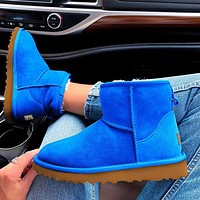 "Wearwinds ""UGG"" Women Male Fashion Wool Snow Boots  Warm shoes Sapphire blue"
