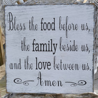 Bless The Food Before Us Wall Art Custom Wood Sign Dining Room, Kitchen Blessings Sign