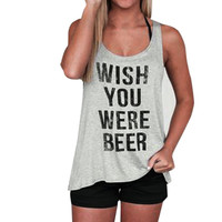 Letter Print T-Shirt Womens Sleeveless Tank Crop Tops Vest Blouses Funny Top poleras Plus Size tshirt Women For Female