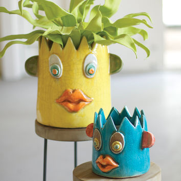Set of 2 Ceramic Crazy Face Planters
