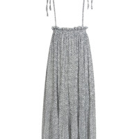White Floral Print Pleated Maxi Suspender Skirt