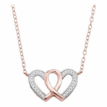 10k Rose Gold Red Diamond Double Nested Heart Love Pendant 1//10 ct