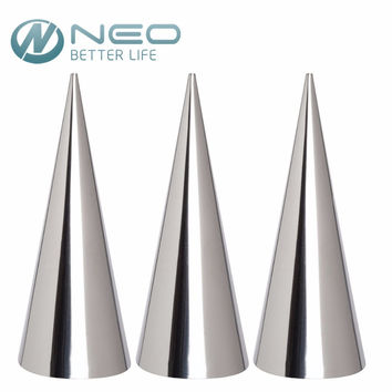 """NEO 3 Pcs Lot 12cm(4.7"""")Stainless Steel Conical Tube Cone Danish Tool DIY Baking Cream Mold Pastry Roll Horn Mold Baking Tool"""