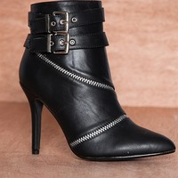 Anne Michelle Direct Zip Line Zipper Seam Pointed Toe Faux Leather Ankle Booties Momentum-78 - Black