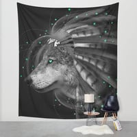 Don't Define the World (Chief of Dreams: Wolf) Tribe Series Wall Tapestry by Soaring Anchor Designs