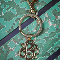 Initial B Keychain in Gold