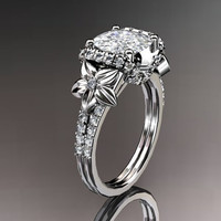 14kt  white gold diamond floral wedding ring,engagement ring with cushion cut moissanite ADLR148