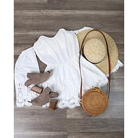 4SIENNA - Boho Strapless Crochet Off The Shoulder Cotton Romper in White