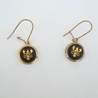 Scorpion Earrings Wires Black Gold Embossed Figural Jewelry