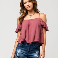 CHLOE & KATIE Crochet Cold Shoulder Womens Top | Blouses