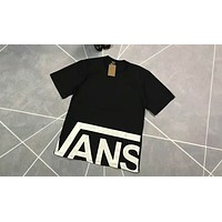 VANS Classic Hem Large Logo Short Sleeve Black and White F-XMCP-YC Black