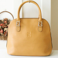 Fendi bag Epi Leather Yellow Alma Tote Vintage handbag authentic