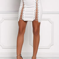 White Side Lace Up High Rise Skirt
