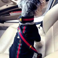 3 piece set gucci dog collar, leash and seat belt