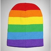 Rainbow Striped Beanie - Spencer's
