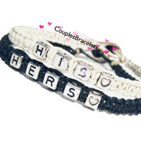 White Black His and Hers Bracelets for Couples