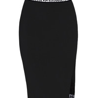 SHADE MIDI SKIRT WITH SIDE SLIT - BLACK