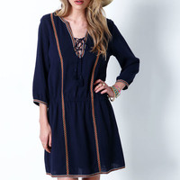MIDNIGHT EMBROIDERED TASSEL SHIFT DRESS