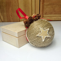 Brown and red christmas tree ornament cotton linen cord birch bark stars tiny cones decoration natural rustic decor ribbon cozy cottage