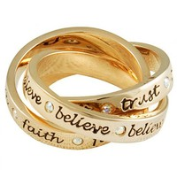 Gold Plated Three Piece Tinkerbell Ring From Disney Couture : TruffleShuffle.com