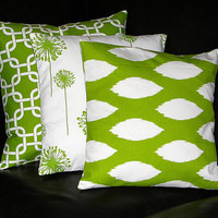 """Lime Green Pillows Decorative Pillows TRIO ikat, chain link, dandelion 18 inch Throw Pillow Covers chartreuse, white 18"""""""