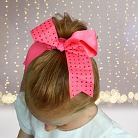 Girls Rhinestone Cheer Bow Ponytail, Bling Cheerleader Hair Elastic