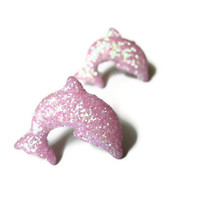 Dolphin Stud Earrings, Pink Glitter Coating, Acrylic, Hypoallergenic Surgical Steel Posts