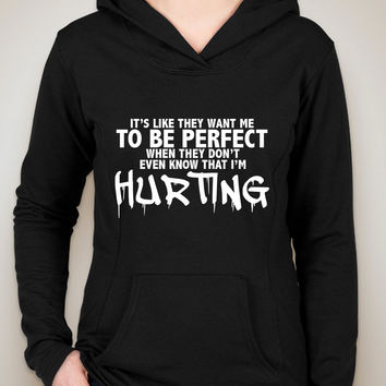 """Justin Bieber """"I'll Show You - It's like they want me to be perfect when they don't even know that I'm hurting."""" Unisex Adult Hoodie Sweatshirt"""