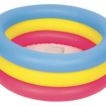 """30"""" Inflatable Pink, Yellow and Blue Children's Swimming Pool"""