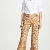Yellow Paisley Print Wide Leg Pants