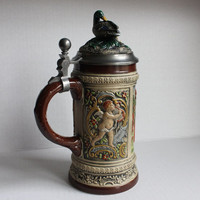 Old Gerz German Beer Stein, Mallard Duck Stoneware Lid with Cherub Tyrolean Hunter Family Mug, Vintage, Made in West Germany