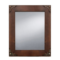 Prinz Palais Mirror with Dark Walnut Solid Wood Border and Antique Copper Metal Accents, 9.63 by 7.63-Inch