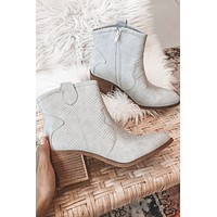 DIRTY LAUNDRY Unite Snake Gray Bootie