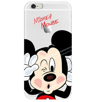 0.3mm Crystal Clear Soft Silicone Transparent Mickey Mouse TPU Back Cover Case for iPhone 4 4s 5 5s SE 5C 6 6s 6 Plus 6s Plus