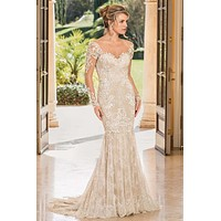 Casablanca 2352 Lisette Long Sleeve Lace Fit-and-Flare Wedding Dress