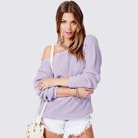 One Shoulder Long Sleeve Sweater