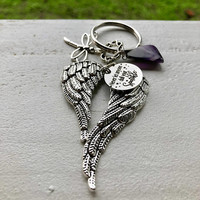 Amethyst Crystal, Never Let Anyone Dull Your Sparkle and Beautiful Big Wings Keychain w/ FREE Bag & Message Card. Angel Energy Crystal