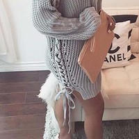 Grey Plain Irregular Round Neck Slit Site Oversize Pullover Sweater
