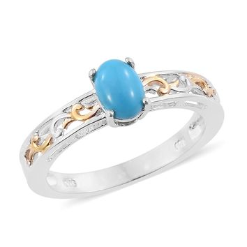 Sleeping Beauty Turquoise 14K YG and Platinum Over Sterling Silver Ring