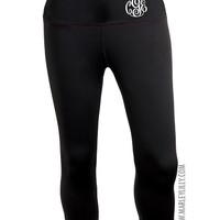 Monogrammed Premium Yoga Fitness Capri | Activewear | Marley Lilly