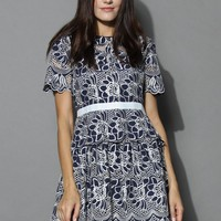 Floral Fantasies Embroidered Dress in Navy