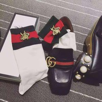 GUCCI Embroidery Bee Breathable Sport Running Socks Stockings